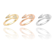 New Fashion Alloy Ring Charm Female Feather Punk Wind Arrow Opening Adjustable Size Ladies Christmas Gift Jewelry