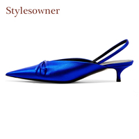 Stylesowner satin bowtie high heel ladies shoes stiletto heel pointed toe shallow genuine leather slingback party wedding pumps