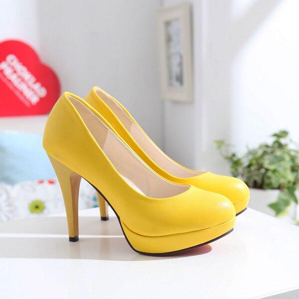 2016 New Fashion Women Shoes High Heels Sweet Princess Wedding Shoes Green Yellow Single Shoes Work Shoes Soft Women Pumps