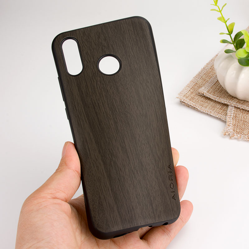 Vintage Case For Huawei P20 Lite Soft TPU Silicone With Wood PU Leather Skin Covers Coque Fundas For Huawei P20 Pro