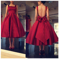 Elegant Red Strapless Prom Gowns Big Bow Spaghetti Strap Evening Gowns Backless Mid Calf Formal Party Dresses Custom Made