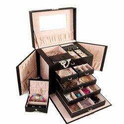 Nueva caja de joyería grande, caja de reloj, pendiente de cuentas, anillo, caja de almacenamiento de joyería, caja de almacenamiento, Roseo blanco negro, organizador de baratija de cuero