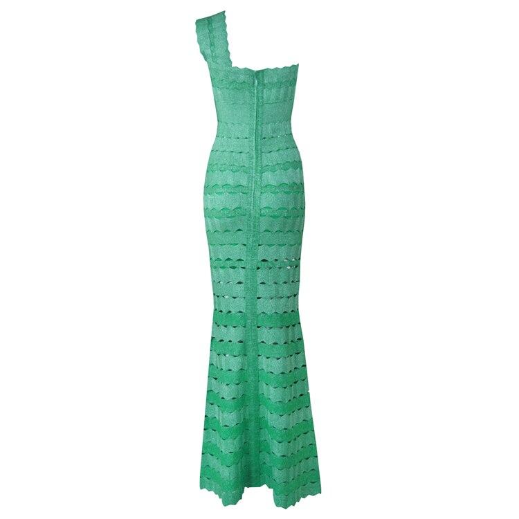 Robe Vert Arrivée 2018 parole Bal Épaule Une Bandage Robe Nouvelle Maxi Femmes De Élégantes Longueur Celebrity Soirée RrxCfvwRaq