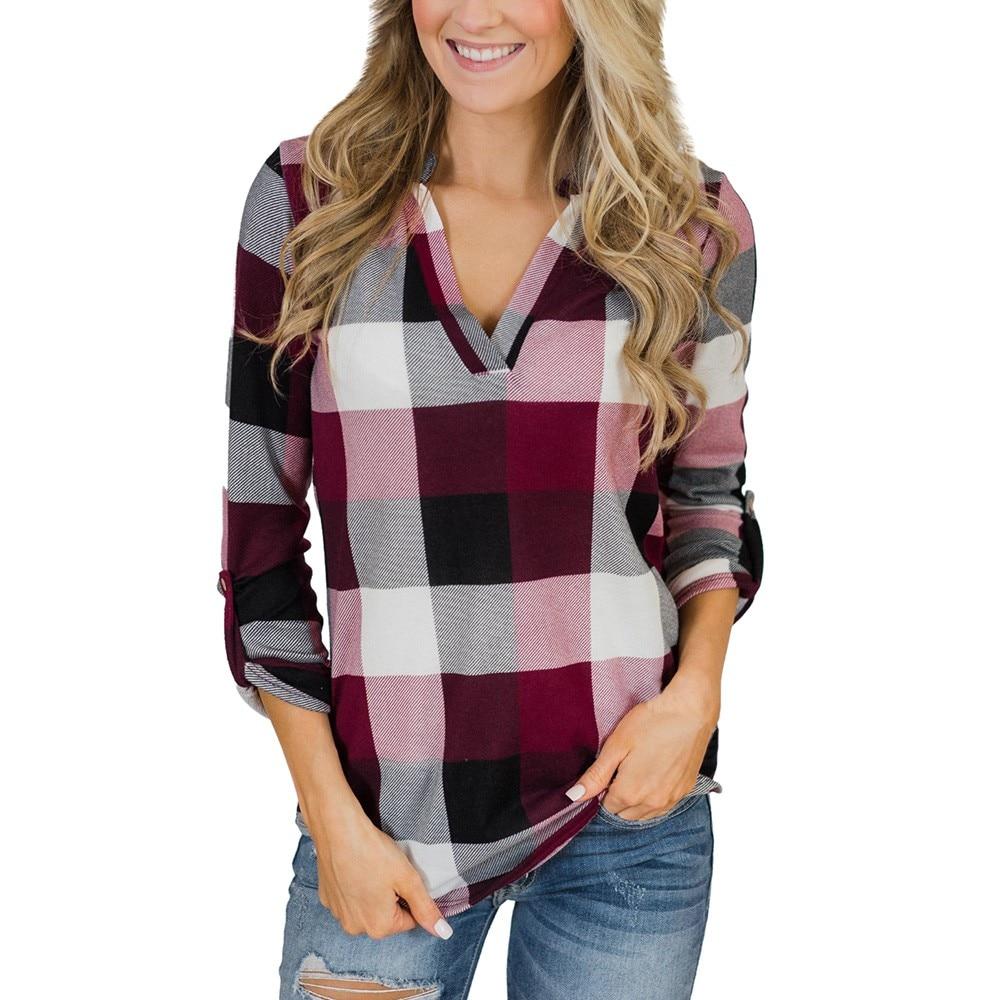 ファッションカジュアル格子縞のシャツの女性長袖 v ネックブラウス女性ルースボタン格子プリントブラウストップス/pt