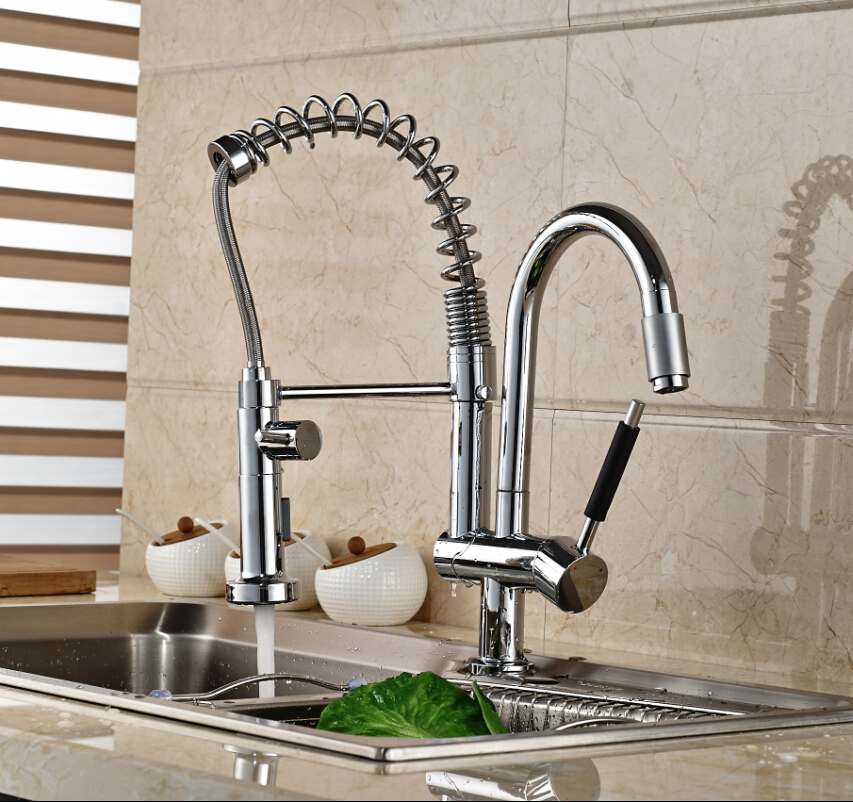 цена на Single Handle Chrome Polished Kitchen Sink Mixer Tap One Hole Deck Mounted Faucet
