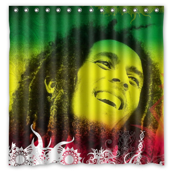 Bob Marley Reggae Music Pattern Creative Bath Shower Curtains ...