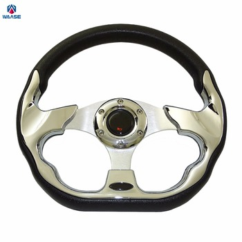 Waase 320mm Universele PU Lederen Racing Sport Auto Stuurwiel met Claxon 12.5 inches Chrome