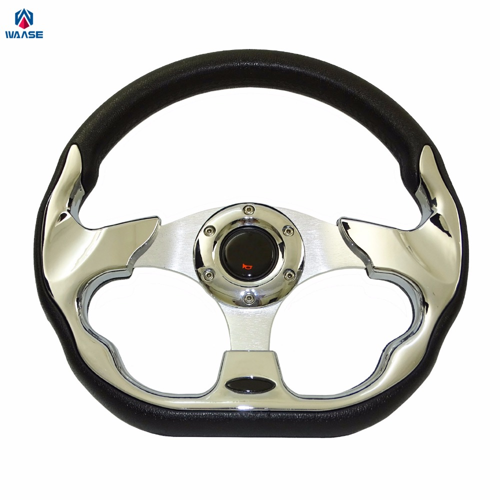 waase 320mm Universal PU Leather Racing Sports Auto Car Steering Wheel with Horn Button 12.5 inches Chrome