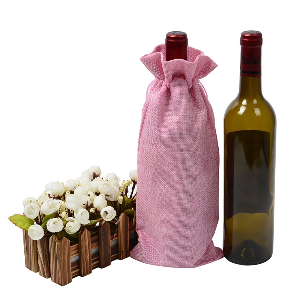 1 Pc 15*35cm Rustic Jute Burlap Wine Drawstring Bags Wine Bottle Covers Reusable Bottle Wrap Gift Package Wine Bags