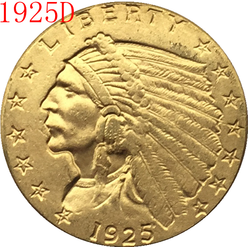 24-K gold plated 1925-D $2.5 GOLD Indian Half Eagle Coin Copy Free shipping ...
