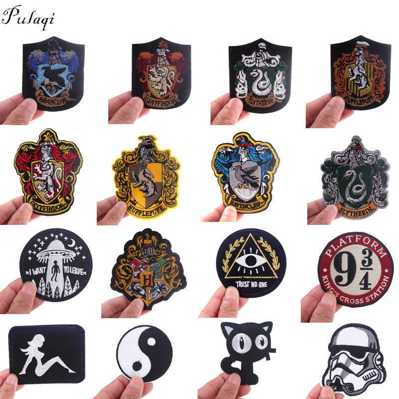 Pulaqi Anime Patch Iron On Patches On Clothes Rock Styles Embroidered Patches For Clothing DIY Applique Stripes Badge Sticker F