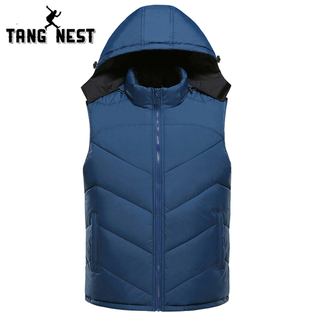TANGNEST Chaleco Hombre 2017 Fashion New Men Vest Hooded Winter Soft Vest Men Hat Detachable Plus Asian Size 4XL Vest MWB239