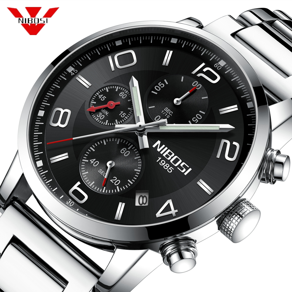 NIBOSI Relogio Masculino Watch Men Fashion Casual Waterproof Quartz Military Stainless Steel Sports Watches Man Clock Mens Watch