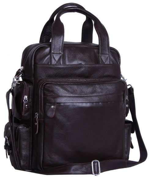 FREE Ship Wholesale Retail New Multi function Men Black Coffee Real Leather Backpack Sling Bag Shoulder