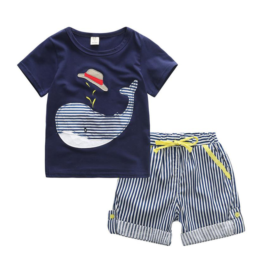 Cute Little Whale Print T Shirt +Striped Short Baby Boy Sets Children Clothes Casual Clothing Cotton Fashion Suits For Boy marine style striped baby boy tee shirt t shirt