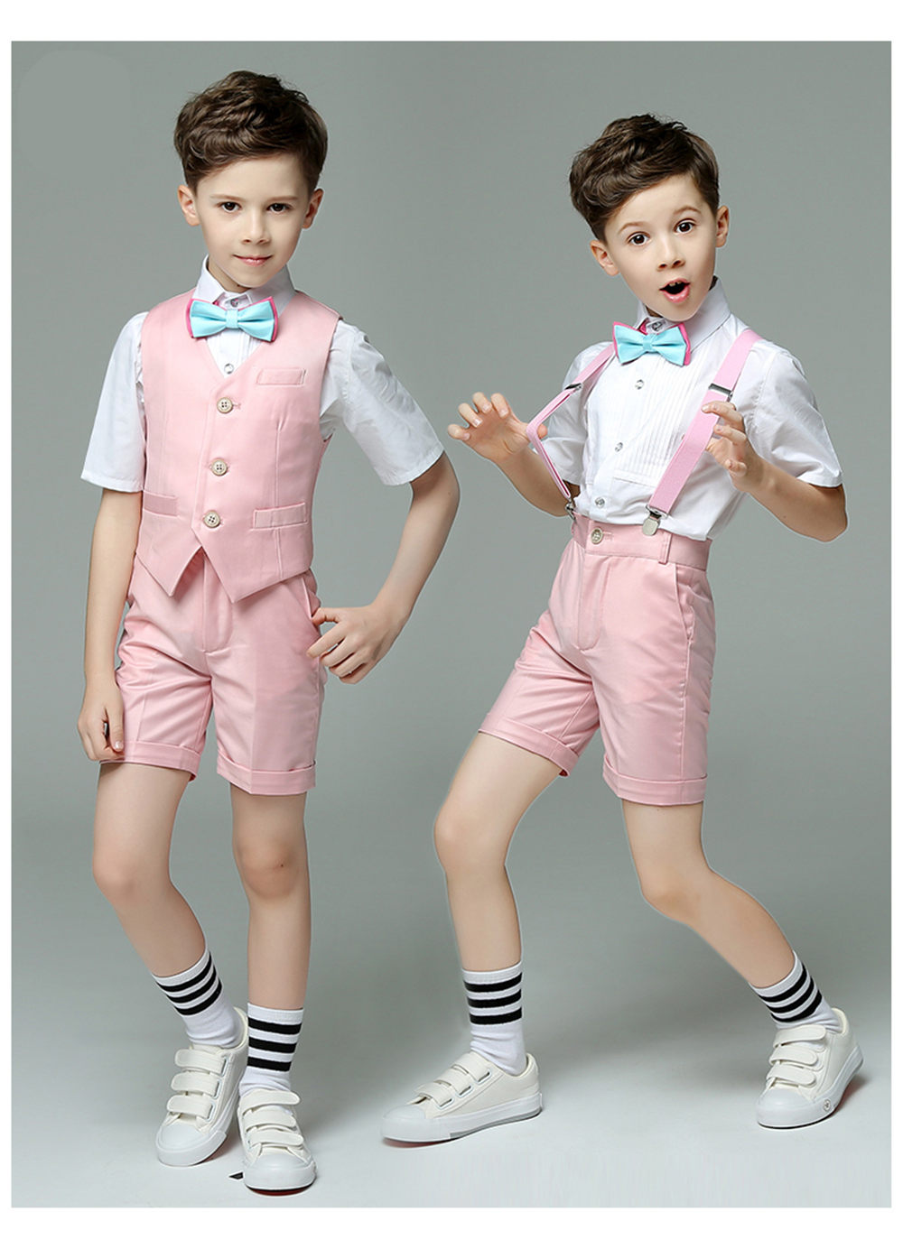 Fashion Boy Suit for Weddings Prom Party Children Slim Fit Suit Sets Boys Tuxedo Formal Vest Pants Classic Costume Pink Blue