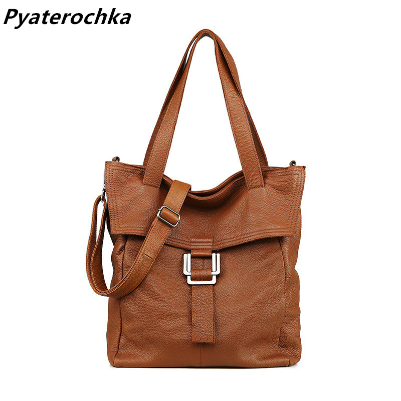 Pyaterochka Big Handbag for Women Genuine Leather Shoulder Bags Vintage Hand Bags 2018 Casual Luxury High Quality Large Tote Bag 2018 quality assurance luxury genuine leather shoulder bag casual tote women handbag vintage hobo large capacity strap hand bag