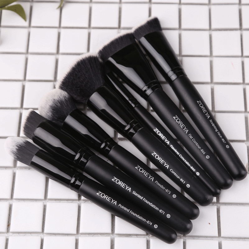 Zoreya Brand 7pcs black makeup brushes set for women Cosmetic tool Nylon hair brush wood handle Professional brushes Tools