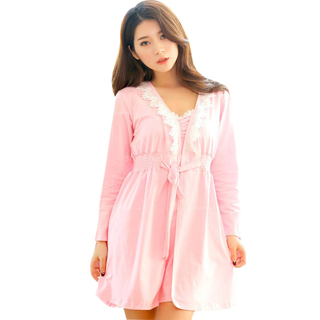 2 Piece Set Dress shirts Cute Pink Gown Robe & Gown  Women Nightgown Robe Set Sexy Pajamas Women's Sleepwear Underwear Sets