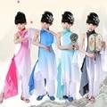 Девушки Китайский выполнять барабанные Костюмы Градиент Цвета Дети Вентилятор Yangko Классические Танцевальные костюмы Этап Производительности Одежда
