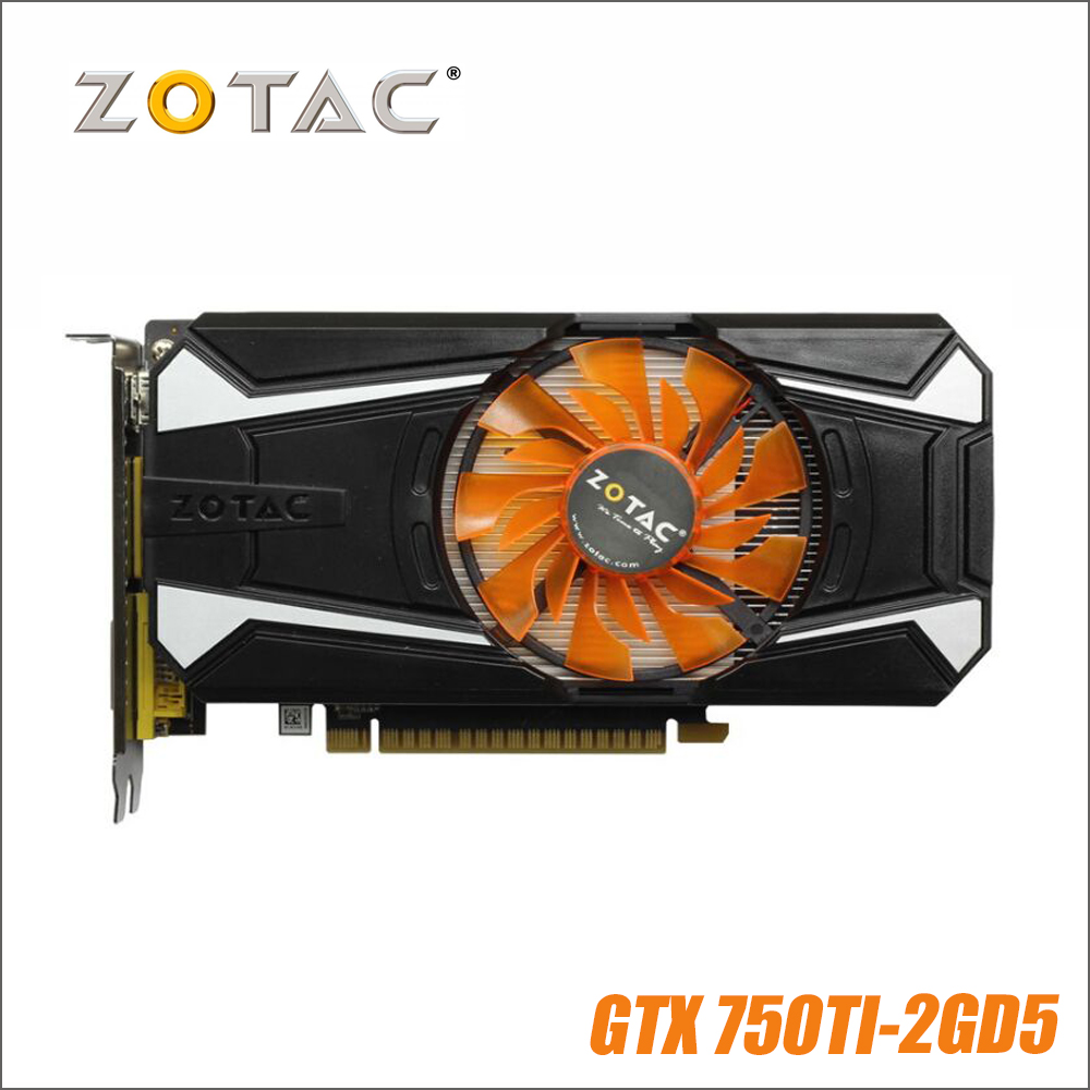 D'origine ZOTAC Carte Vidéo GeForce GTX 750 Ti 2 gb 128Bit GDDR5 Cartes Graphiques pour nVIDIA GTX750Ti GTX 750Ti 2GD5 hdmi Dvi VGA