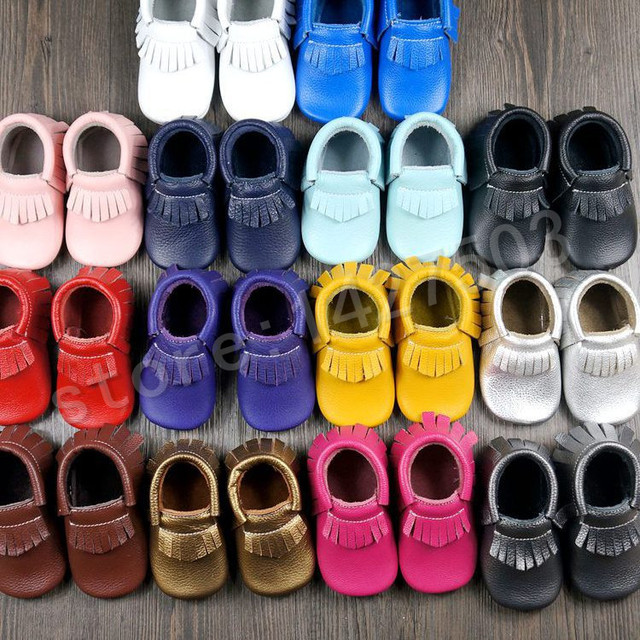 2015 Nueva franja de 14 colores candy pink purple negro blanco genuino mocasines de cuero de vaca nueva zapatos de bebé muchachas de los bebés del bebé infantil