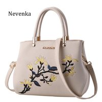 Nevenka New Women Bag Zipper Embroidery Flower Tote Three Layer Bag Ladies Evening Strap Bags Solid