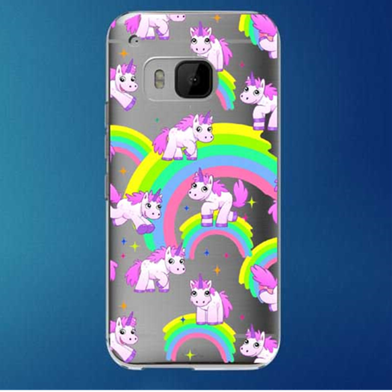 Pink Unicorn rainbow transparent hardcover plastic phone cover For HTC One M7 M8 M9 Free shipping