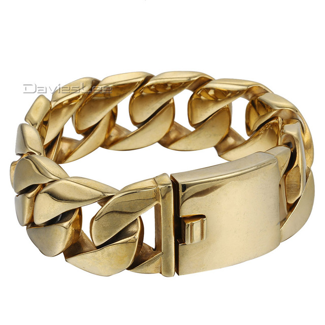 23mm Wide Heavy Thick Gold Tone Color Round Curb Mens Chain 316l Stainless Steel Bracelet