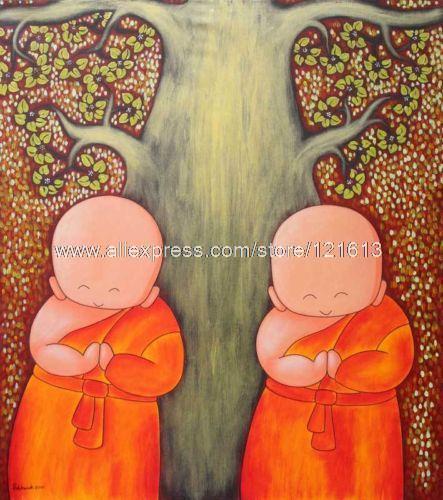 Buddhist Boys Thai Fine Art Orig Naif Painting Naive Oil Paintings