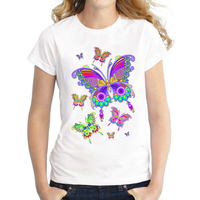 Najnowszy Moda druku Kolorowe butterfly wzór 2017 lato T-shirt kobiety piękna wiosna lato koszula marki mody fajne blaty
