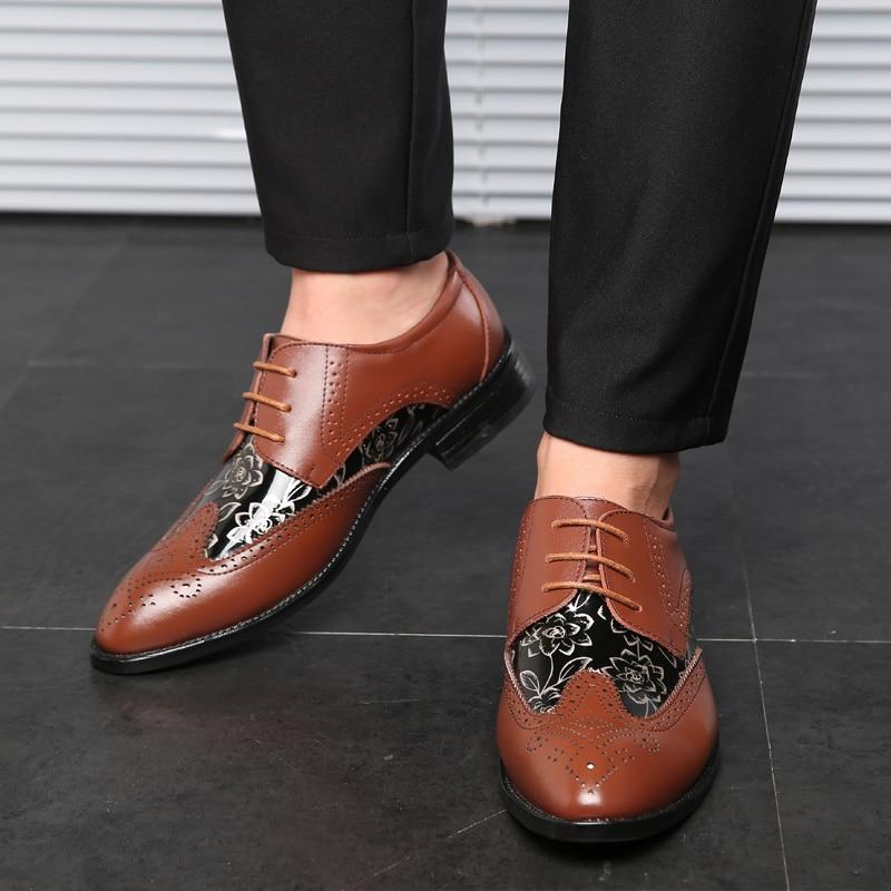 La Chaussures De Mode Nouveau brown Contracté Black Imprimé yellow En Marque 2018 Hommes Noire Mâle Cuir Élégant Mariage Robe BzXIq