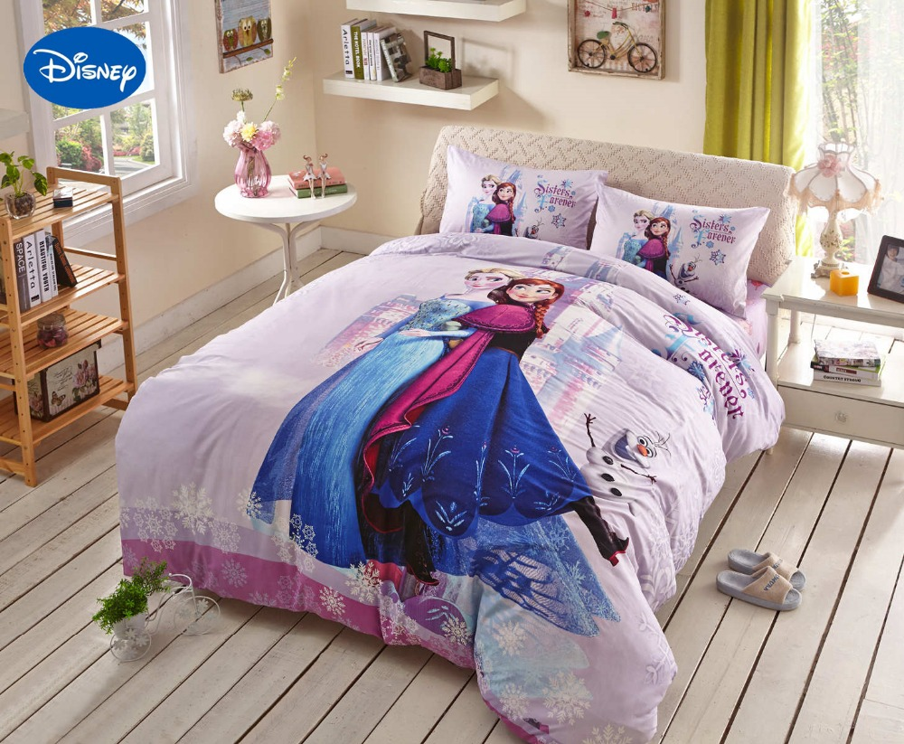 Pink disney frozen elsa anna character 3d printed bedding for Bed decoration set