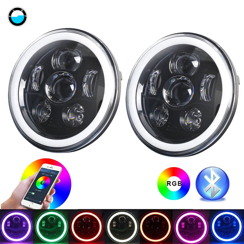 7 inch LED Headlight RGB Halo Ring Angel Eyes 745W For Jeep Wrangler JK TJ LJ Sahara Rubicon Sport Unlimited Hummer H1 H2. rastar 28500 hummer h2 page 7