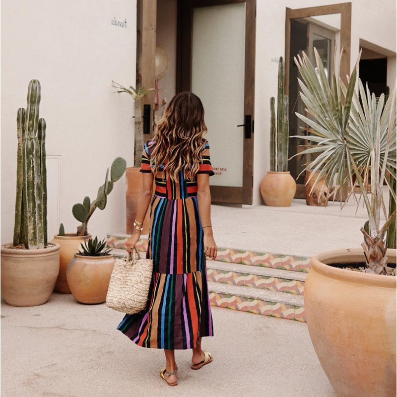BEFORW 19 Harajuku Casual Dress Women Clothes Fashion Rainbow Stripe Long Dress Vestidos Female Summer Beach Maxi Dresses 9