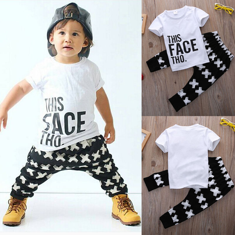 Kid Cross Clothing Sets Toddler Kids Baby boy Summer Outfits Sports Clothes Letter T-shirt Tops+Harem Pants 2pcs Set