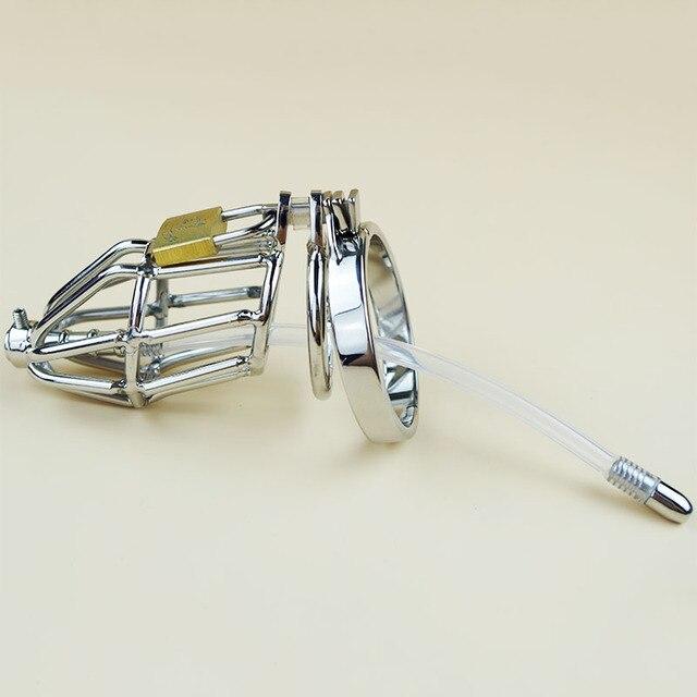 Оптовая Целомудрие устройство с Силиконовой Катетер Металл нержавеющая сталь пениса рукава дик блокировка кейдж 10 шт./лот
