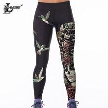 Новые модные стильные леггинсы с птичьим цифровым принтом женские сексуальные рабочие брюки ropa mujer Harajuku плюс размер брюки в готическом стиле F804