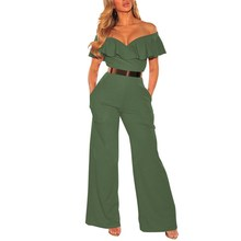 Overalls Casual Loose Playsuit Women Off Shoulder Ruffles Jumpsuit Sexy Backless Wide Leg Pants