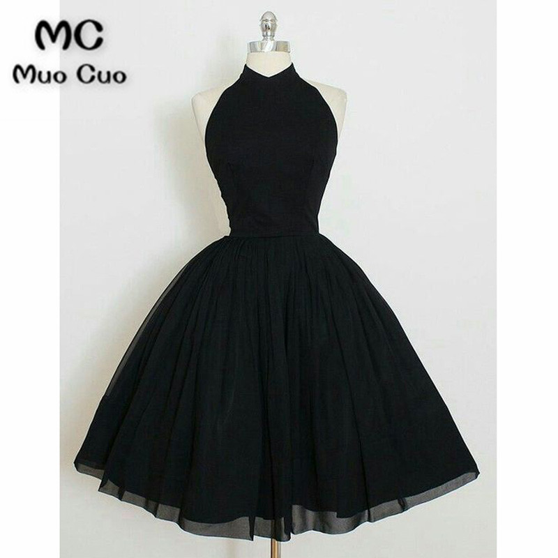 Charming A Line Halter Backless Black Chiffon Short Homecoming Dress, Little Black Dress Under