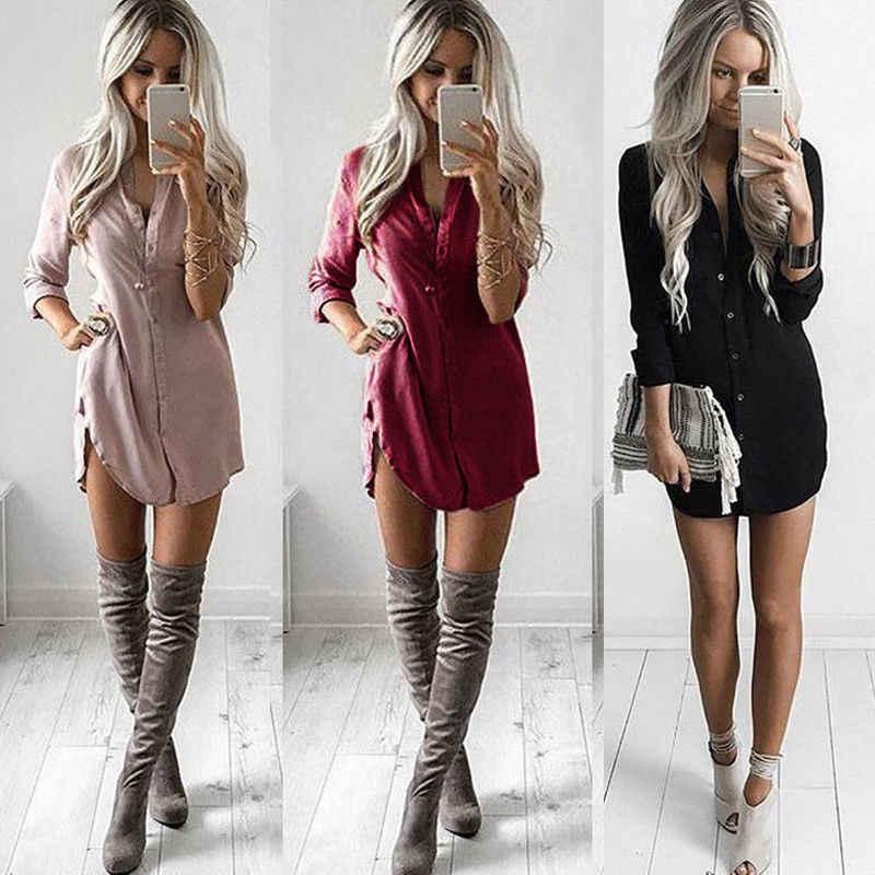 Vrouwen Blouse Shirt Jurk Mode Zomer Toevallige Losse Lange Mouw Blouse Tops Casual Blouse Jurk