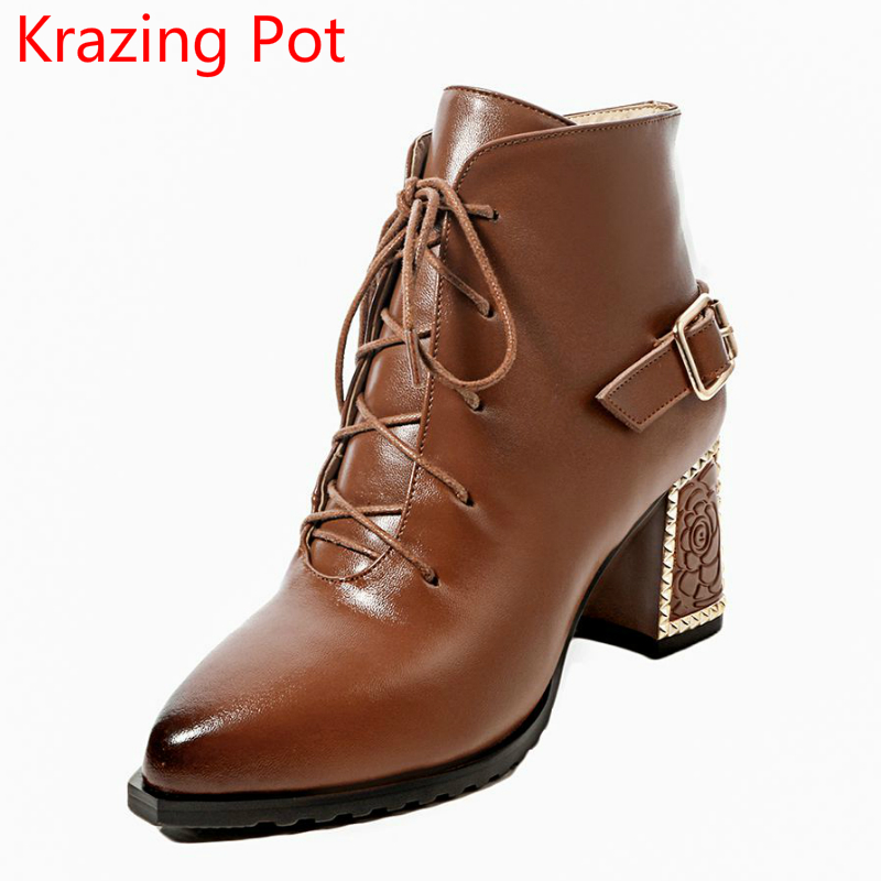 все цены на 2018 New Arrival Large Size Genuine Leather Fashion Winter Boots Zipper Lady High Heels Solid Runway Lace Up Ankle Boots L7f8