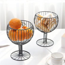 New Nordic ins geometric hollow iron storage fruit basket Simple home living room snack water cup-shaped blue