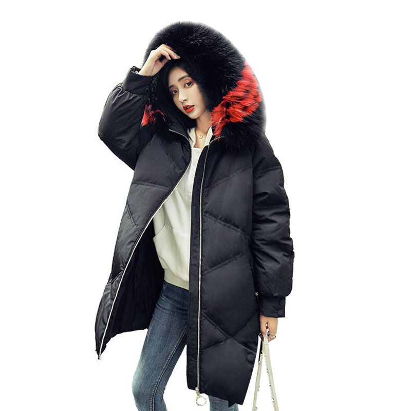 2018 New Fashion Winter Women's   Down   Jacket 90% White Duck   Down     Coat   Large Real Raccoon Fur Hooded Warm Long Parka
