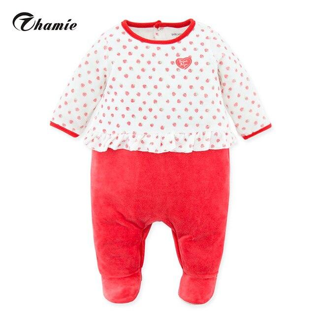 55a7296a68d Bebé Ropa manga completa cubierta del pie terciopelo dormir recién nacido  Rompers ropa fresa impresa rosa