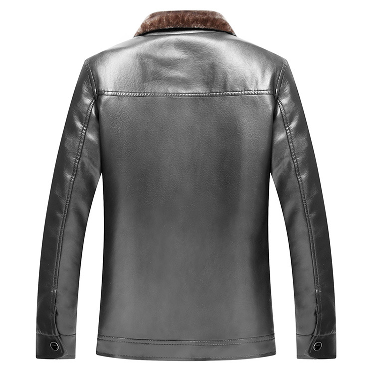 New Mens Winter Fleece Lined Leather Jacekt Casual Thick Thermal Faux Leather Jackets And Coats For Man Stand Collar