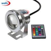 Магия 10 Вт подводный RGB светодиодный пятно света прожектор для бассейн Сад света Водонепроницаемый защиту окружающей среды + 24 кнопочный пу...