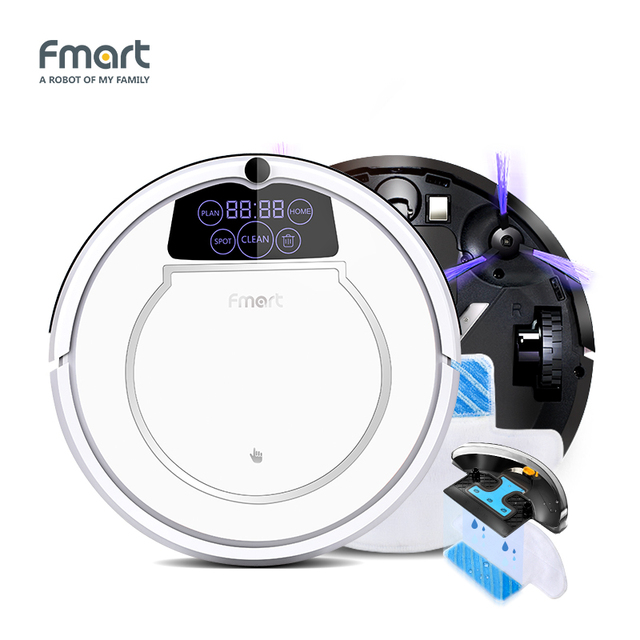 Fmart E-550W(S) Robot Vacuum Cleaner Home Cleaning Appliances 3 in 1 Cleaners Suction+Sweeper +Mop Led Display Aspirator