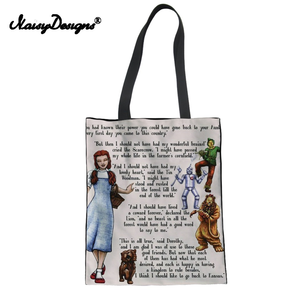Noisydesings THE WIZARD OF OZ TOTE BAG Women Canvas Shopping Bag Girl Lady Beach Travel Package Pouch Portable Folding Dropship tote bag