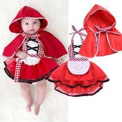 Bonito Da Criança Cosplay Conjunto Rendas Bebê Meninas Tule Vestido Little Red Riding Hood Fancy Dress + Cabo Manto Roupas de Natal roupas